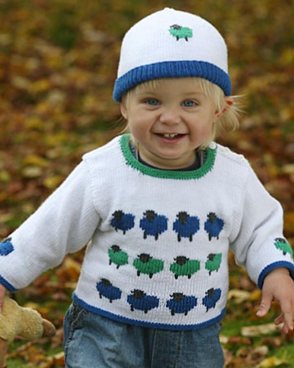 baby/småbarnströja och mössa med blå och gröna får