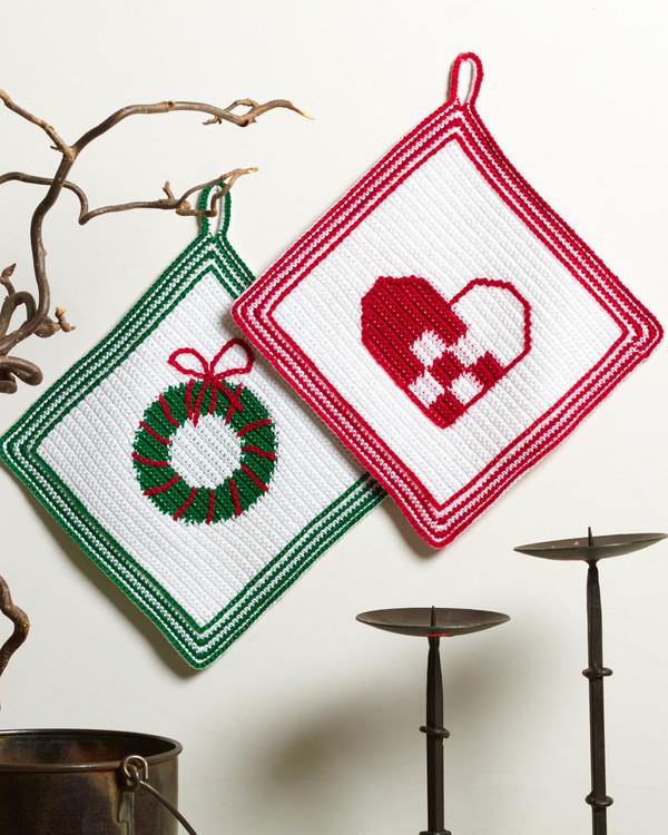 Grytlappar Julhjärta och Julkrans