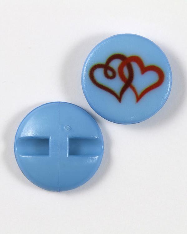 Knapp blå/hjärta 18 mm