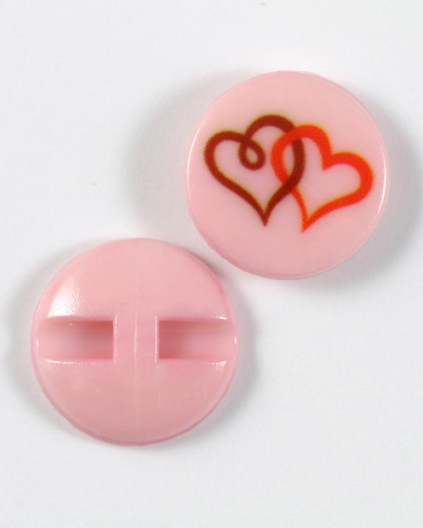 Knapp rosa/hjärta 18 mm