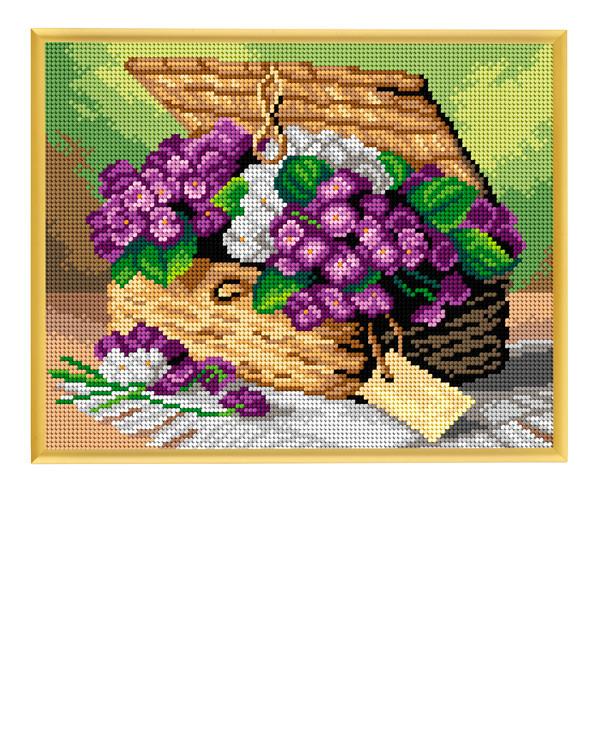Broderikit Stramalj Korg med violer