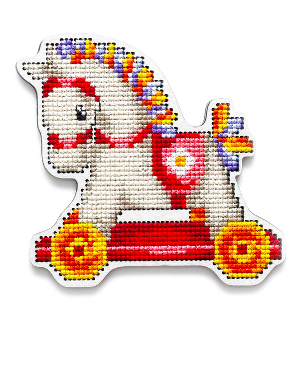 Broderikit Magnet Häst rosa