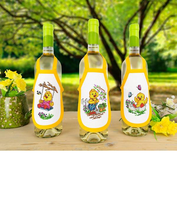Flaschenschürzen Küken 3-er Pack