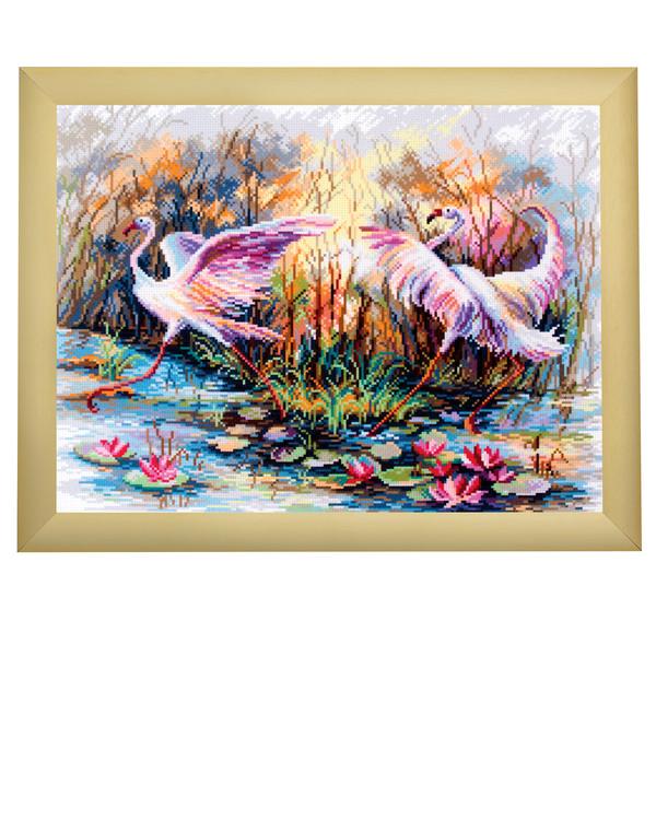 Broderikit Tavla Dansande flamingos