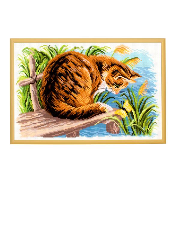 Broderikit Tavla katten vid ån