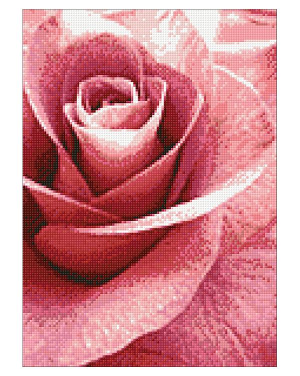 Diamond painting Vaaleanpunainen ruusu