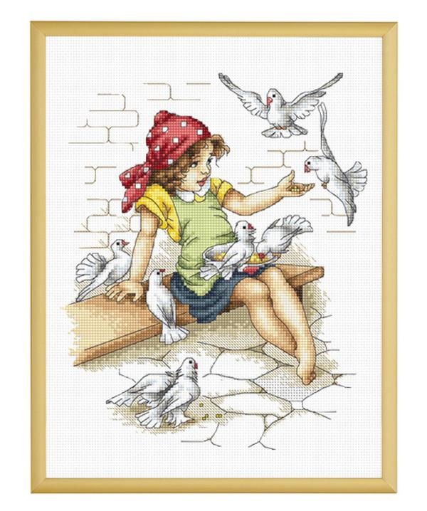 Taulu Tyttö ja kyyhkyset