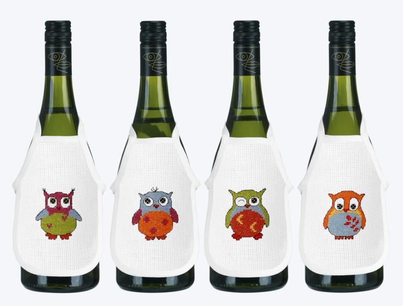 Flaskeforklær Fargerike ugler 4-pk