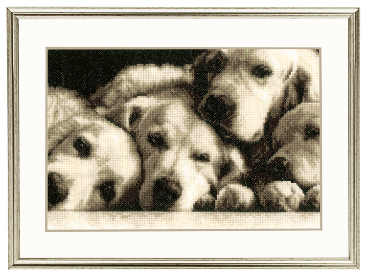 Broderikit Tavla Hundar på hög