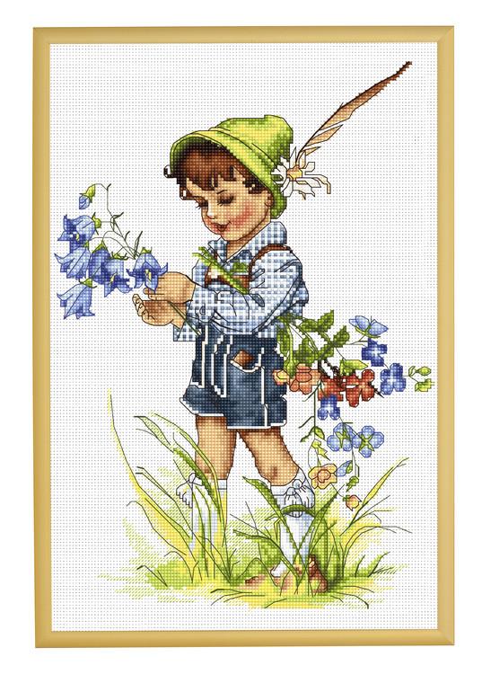 Broderikit Tavla Pojke med blåklocko