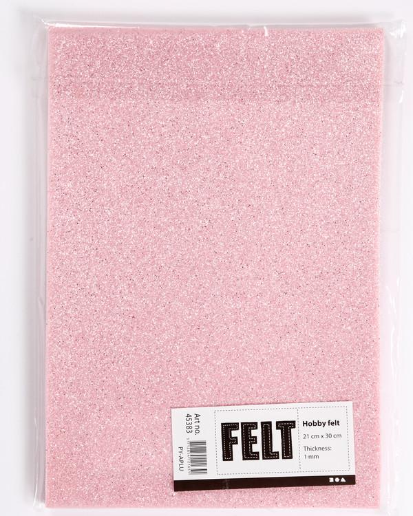 Hobbyfilt Glitter rosa 10-pk