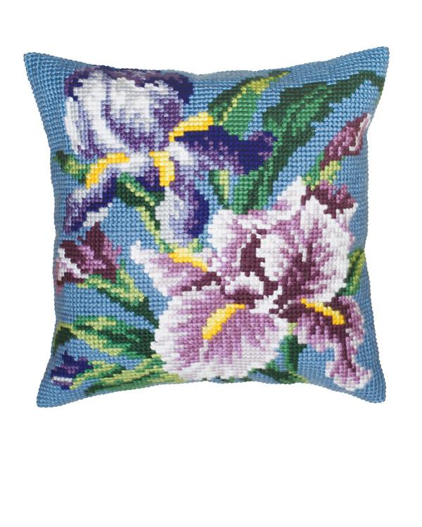 Stickpackung Kissen Blaue Blumen