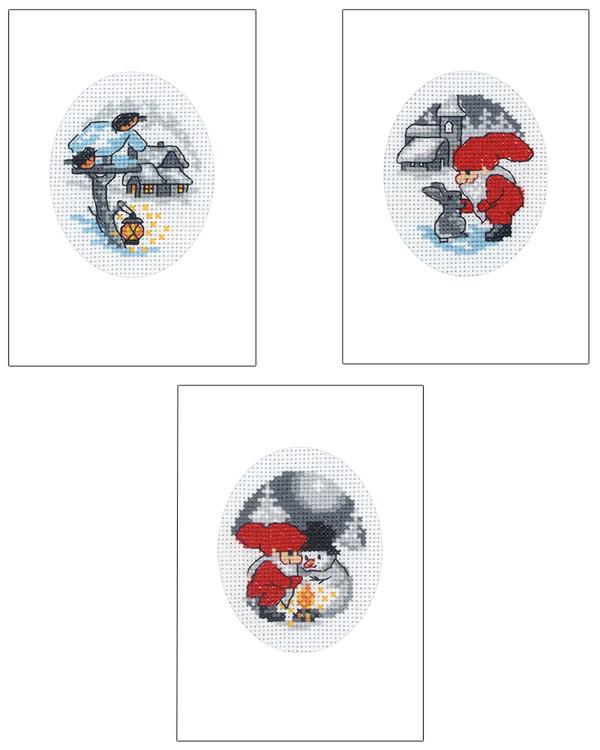 Broderipakke Kort Julen 3-pk