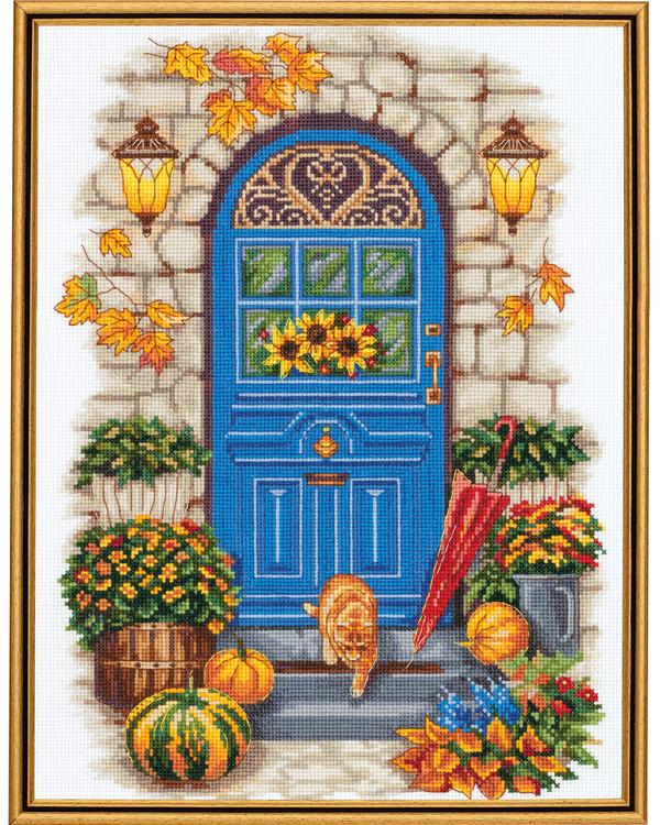Stickpackung Bild Herbst an der Tür