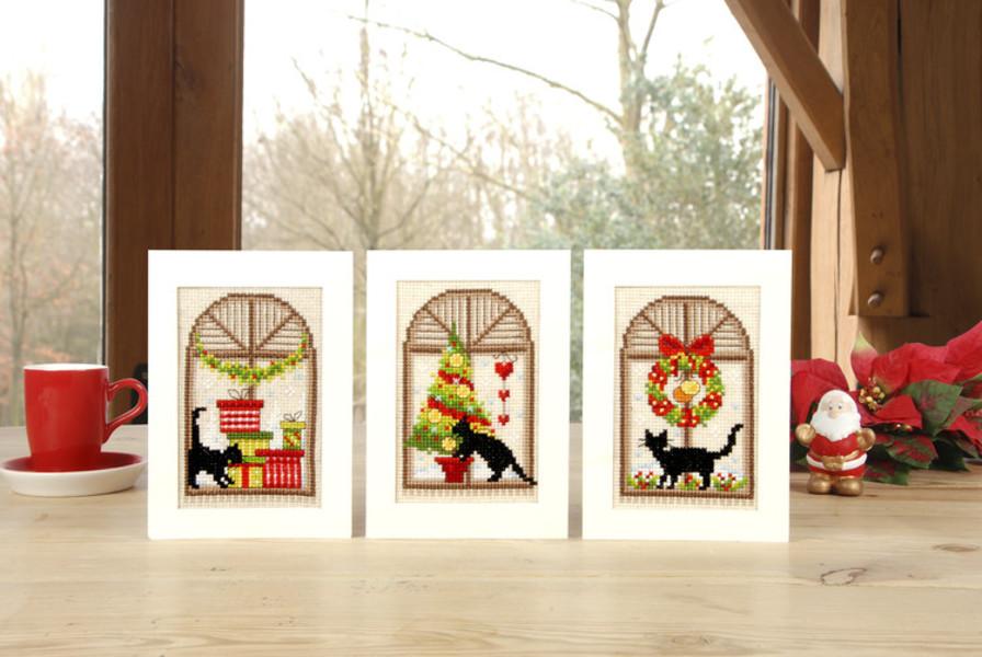 Kort Julfönster 3-pack