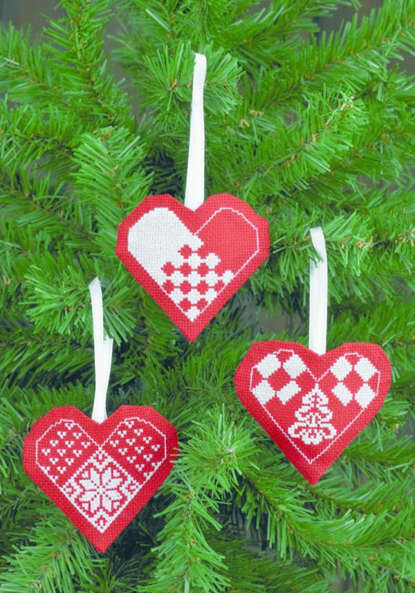 Julhjärtan Vitt på rött 3-pack
