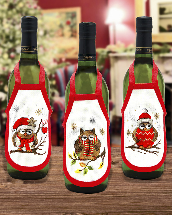 Flaskeforklær Juleugler 3-pk