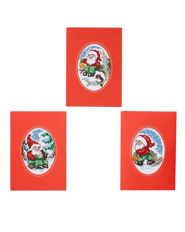 Julekort Nisse på tur 3-pk