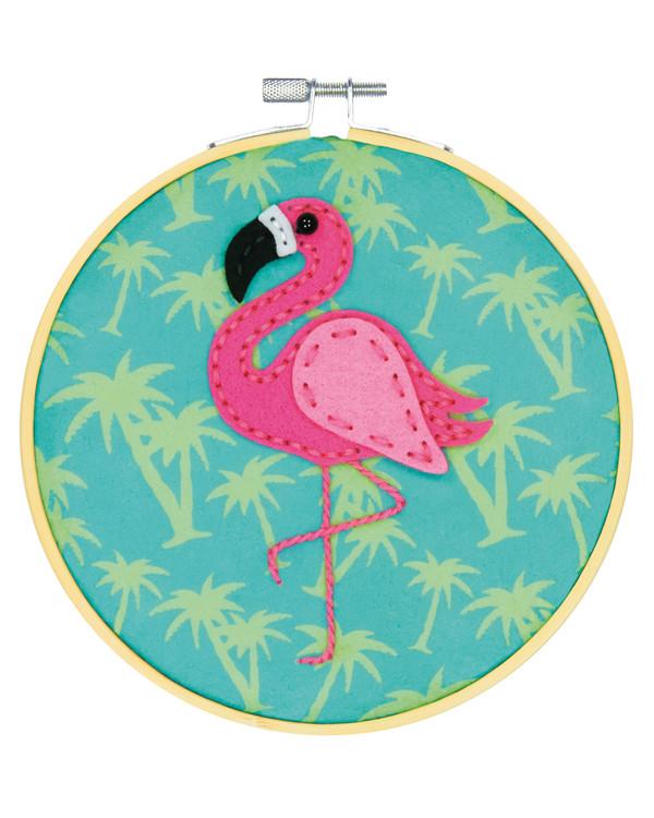 Filtbroderi Flamingo